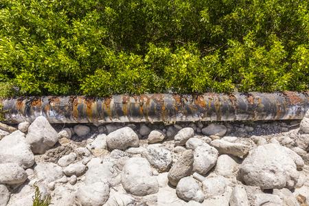 honda: old rusty tubes at bahia honda national park Stock Photo