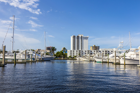waterways: FORT LAUDERDALE, USA - AUG 20, 2014: Boats at waterfront homes in Fort Lauderdale. There are 165 miles of waterways within the city limits.