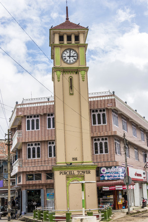 PYIN OO LWIN, MYANMAR - AUG 18, 2015: Purcell Tower in the  town, Pyin Oo Lwin. The clock was  made in 1934 by Gillete and Johnson Co. of England in commemoration of the Silver Jubilee of the reign King George V. Editorial