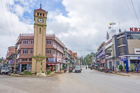 reign: PYIN OO LWIN, MYANMAR - AUG 18, 2015: Purcell Tower in the  town, Pyin Oo Lwin. The clock was  made in 1934 by Gillete and Johnson Co. of England in commemoration of the Silver Jubilee of the reign King George V. Editorial