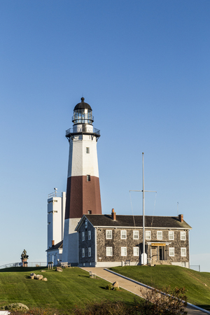 montauk: historic Lighthouse at Montauk Point, Long Island, New York Stock Photo