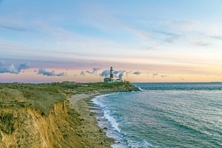 Atlantic ocean waves on the beach at Montauk Point Light, Lighthouse, Long Island, New York, Suffolk County
