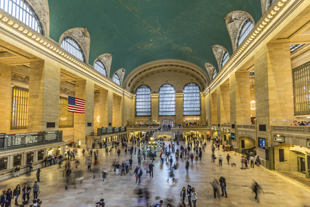 railway transportation: NEW YORK, USA - OCT 22, 2015: people at Grand Central Terminal, New York City which was first build in 1871. This is the largest subway terminal by number of platforms. Editorial