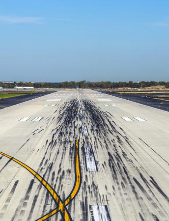 jfk: empty runway at the airport JFK in New York