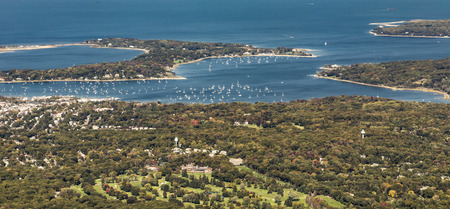 long island: aerial of Oister Bay in New York at long island lake, USA Stock Photo