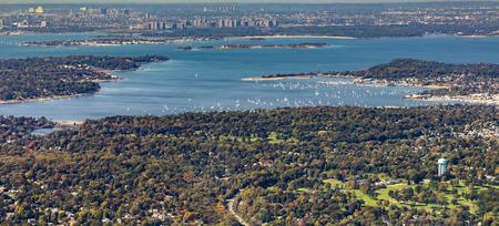 long island: aerial of Oister Bay in New York at long island lake, USA Stock Photo