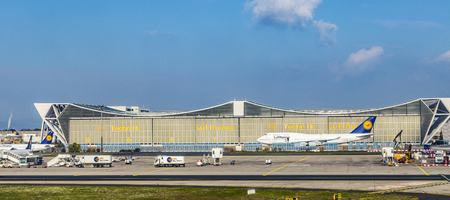 FRANKFURT, GERMANY - OCT 20, 2015: maintenance hall in Frankfurt Germany. The Butterfly Maintetance hall is big enough to maintain 5 B747 at the same time.