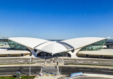 jetblue: NEW YORK- USA, OCT 20,, 2015: Areal view of the historic TWA Flight Center and JetBlue Terminal 5 at John F Kennedy International Airport in New York ..