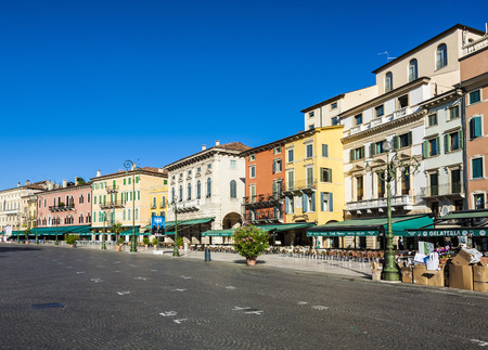 empty Piazza Bra in Verona in morning sun Editorial