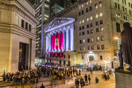 nyse: NEW YORK, USA - OCT 20, 2015: people join the party at wall street due to successful Ferrari  Wall street debut at  OCT 21, 2015. The shares jumped on the first das to 60 USD.