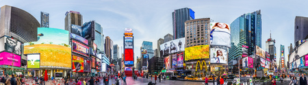 NEW YORK, USA - OCT 21, 2015: Times Square, featured with Broadway Theaters and huge number of LED signs, is a symbol of New York City and the United States. Zdjęcie Seryjne - 47764414