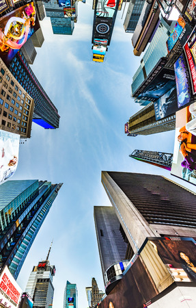 urban street: NEW YORK, USA - OCT 21, 2015: Times Square, featured with Broadway Theaters and huge number of LED signs, is a symbol of New York City and the United States.