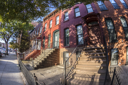 old new york: beautiful old brick house in Brooklyn, New York Stock Photo