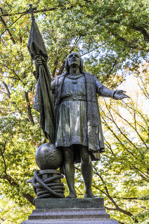 discoverer: NEW YORK, USA - OCT 21, 2015: Statue of Columbus inside the central park in Manhattan. Columbus was the discoverer of america.