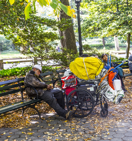 vagabond: NEW YORK, USA - OCT 21, 2015: A homeless man sleeping in central park   in Manhattan, New York, USA. In New York city total number of homeless people in municipal shelters: 52,351