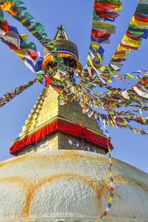 dome of hindu temple: Boudhanath Stupa in Kathmandu valley, Nepal