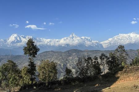 trecking: view to Dhaulagiri  - Nepal, Himalaya in early morning