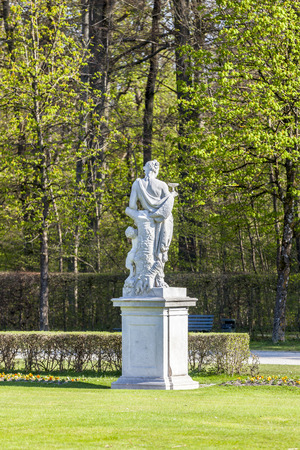 neptun: Statue schloss Munich, Nymphenburg palace on sunny day. germany