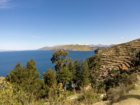 terracing: Isla del Sol (Island of the Sun). Lake Titicaca. Bolivia. Stock Photo