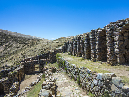 excitation: Inca Ruins of Isla del Sol, Bolivia with view to lake Titicaca