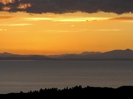 islas: panoramic view over lake Titicaca from islas del sol Stock Photo