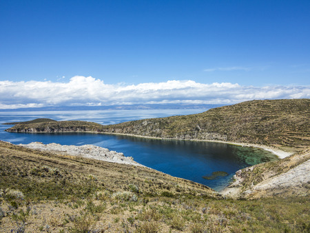 isla: view to Gorgeous Landscape of Isla del Sol, Bolivia Stock Photo
