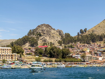excursions: COPACABANA, BOLIVIA - NOV 1, 2015: skyline of Copacabana, Bolivia. Copacabana is the starting point for excursions to the Titicaca lake islands.