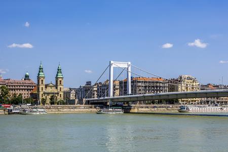 BUDAPEST, HUNGARY - AUG 4, 2008:  the old rope bridge in Budapest, Hungary. Budapest is famous for its beautiful Danube bridges. Editorial