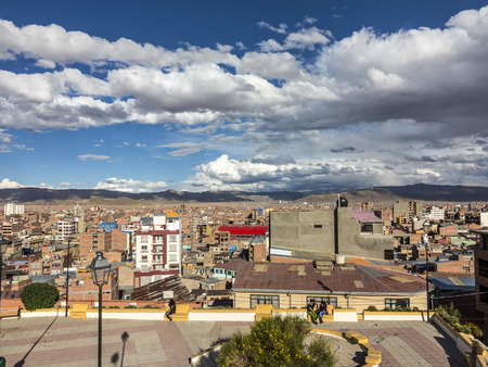 padilla: ORURO, BOLIVIA - NOV 6, 2015: scenic view over city of Oruro in the Andes, Bolivia. The city was first founded on November 1, 1606 by Don Manuel Castro de Padilla. Editorial