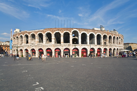 verdi: VERONA, ITALY, AUG 5, 2009: people in front of Arena in verona, famous old roman amphie theater in Verona, Italy. Popular spot for Verdi operas.