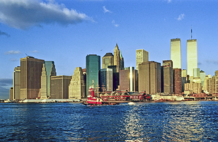 NEW YORK CITY - JANUARY 4, 2001: The twin towers of the World Trade Center and lower Manhattan in New York. Twin towers were destroyed in 911 by terrorist attac.
