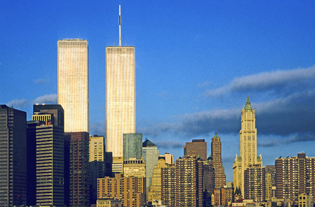 twin towers in New York in sunset Editorial