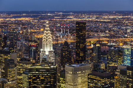 chrysler building: NEW YORK CITY, USA - OCT 23, 2015: Chrysler Building at night  in Manhattan, New York City. It was designed by William Van Alena as Art Deco architecture and the famous landmark.
