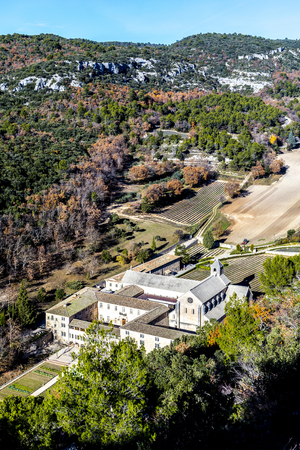 senanque: aerial of Senanque abbey in the  Provence, France
