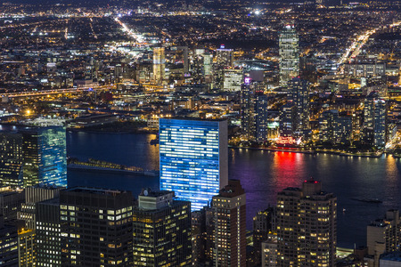 united nations: NEW YORK, USA OCT 23, 2015: United Nations Building in New York. The United Nations complex has served as the official headquarters of the United Nations since 1952.