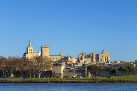 palais: skyline of Avignon with gothic building of the papal palace - palais de Papes with river Editorial