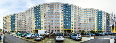 renovated: ERFURT, GERMANY - DEC 20, 2015: facade of old socialist buildings are renovated with more colorful facades in erfurt, Germany.