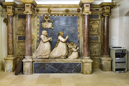 WEIMAR, GERMANY - DEC 19, 2015: sculpture of The Magi also referred to as the Three Wise Men or Three Kings, in the Gospel of Matthew in Church St. Peter and Paul in Weimar, Thuringia, Germany. It is the most important church building of the town and