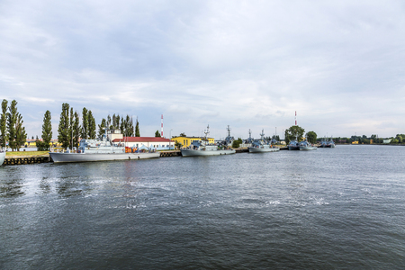 world war one: SWINEMUENDE, POLAND - AUG 12, 2015: marine harbor in Swinemuende, Poland. The marine battleship harbor exists since the first world war and is one of the tree polish marine harbors.
