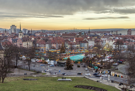 largest: ERFURT, GERMANY - DEC 20, 2015: famous christkindl market in Erfurt, Germany. Erfurts Christmas Market is one of the loveliest in the whole of Germany and is the largest in Thuringia.