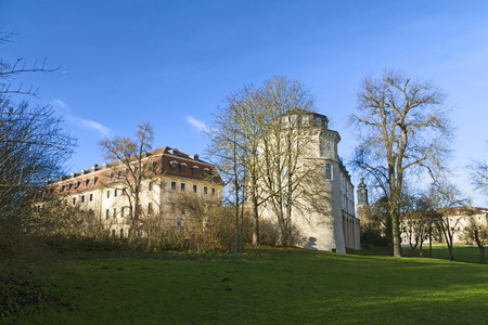 castle: view from the Ilm park in weimar to old green castle and Anna Amalia library
