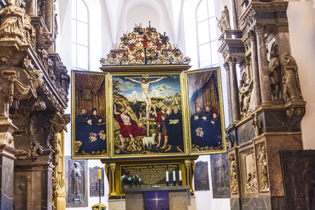 lucas: WEIMAR, GERMANY - DEC 19, 2015: Church St. Peter and Paul with famous altar in Weimar, Thuringia, Germany. The winged altar was created in 1552 by Lucas Cranach and stands for the extraordinary saxonian art in that time period.