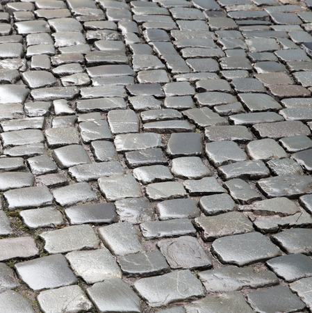 wet cobble stones in old german town