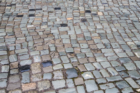cobble: wet cobble stones in old german town