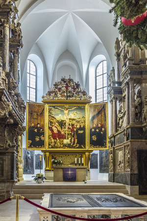 period of time: WEIMAR, GERMANY - DEC 19, 2015: Church St. Peter and Paul with famous altar in Weimar, Thuringia, Germany. The winged altar was created in 1552 by Lucas Cranach and stands for the extraordinary saxonian art in that time period.