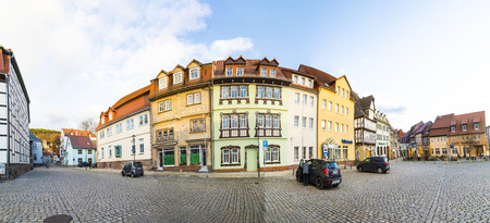 market place: BAD FRANKENHAUSEN, GERMANY - DEC 21, 2015: old market place in Bad Frankenhausen, Germany.  The market place Frankenhausen was first mentioned in the 9th century in a document of the cloister in Fulda. Editorial