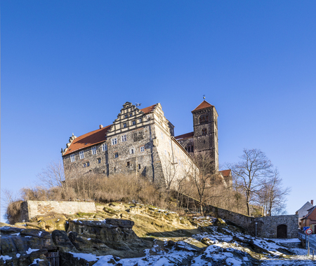 half timbered house: famous Castle and church in Quedlinburg, Germany