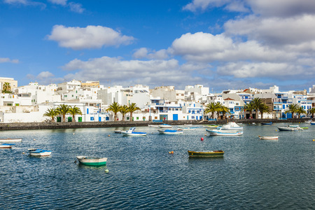 remodelled: ARRECIFE, SPAIN - DEC 23: Charco de San Gines on midday on Dec 23,2010 in Arrecife, Spain. The harbor area was remodelled by Canarian architect Caesar Manrique in 1984.