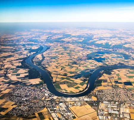 hesse: view to river Rhine in Hesse, Germany Stock Photo