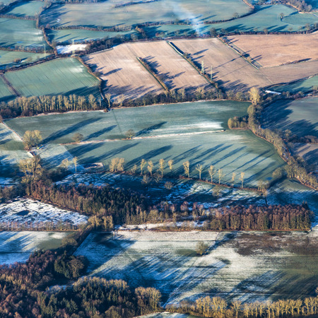 rural area: aerial of rural area near Hamburg in early morning Stock Photo